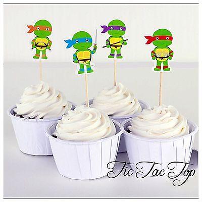Ninja Turtle Cupcake (12x TMNT Ninja Turtle Cupcake Toppers Picks. Party Supplies Lolly Loot)