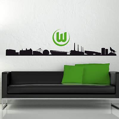 Wandtattoo VfL Wolfsburg Skyline mit Logo farbig Fanshop Fanartikel Wanddeko