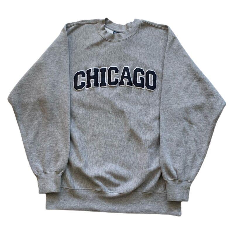 VTG 90s Chicago Letterman Spell Out College Reverse Weave Sweatshirt Mens Medium