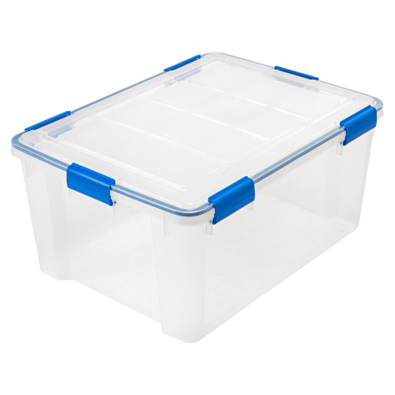 60 Quart WEATHERTIGHT Storage Box, Clear with Blue Buckles