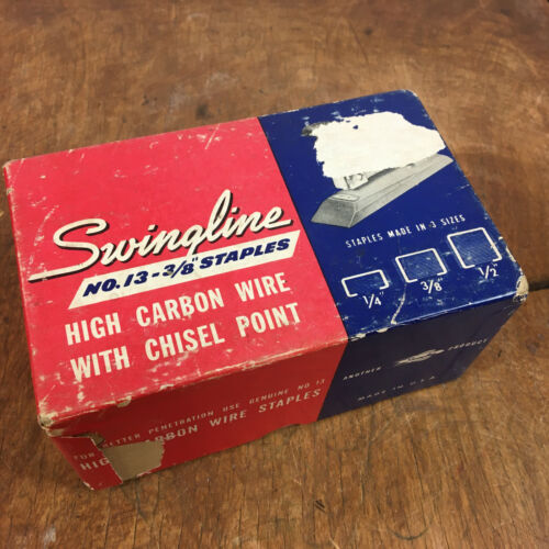 """Large Box of Vintage Swingline No 13 Staples 3/8"""" High Carbon Wire Chisel Point"""