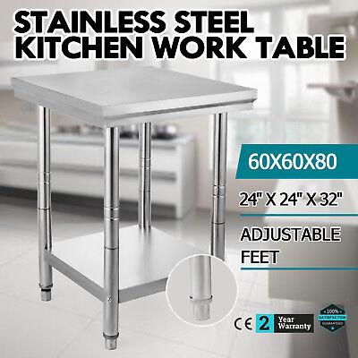 Stainless Steel Work Prep Table Kitchen Restaurant 24 X 24 Adjustable Feet New