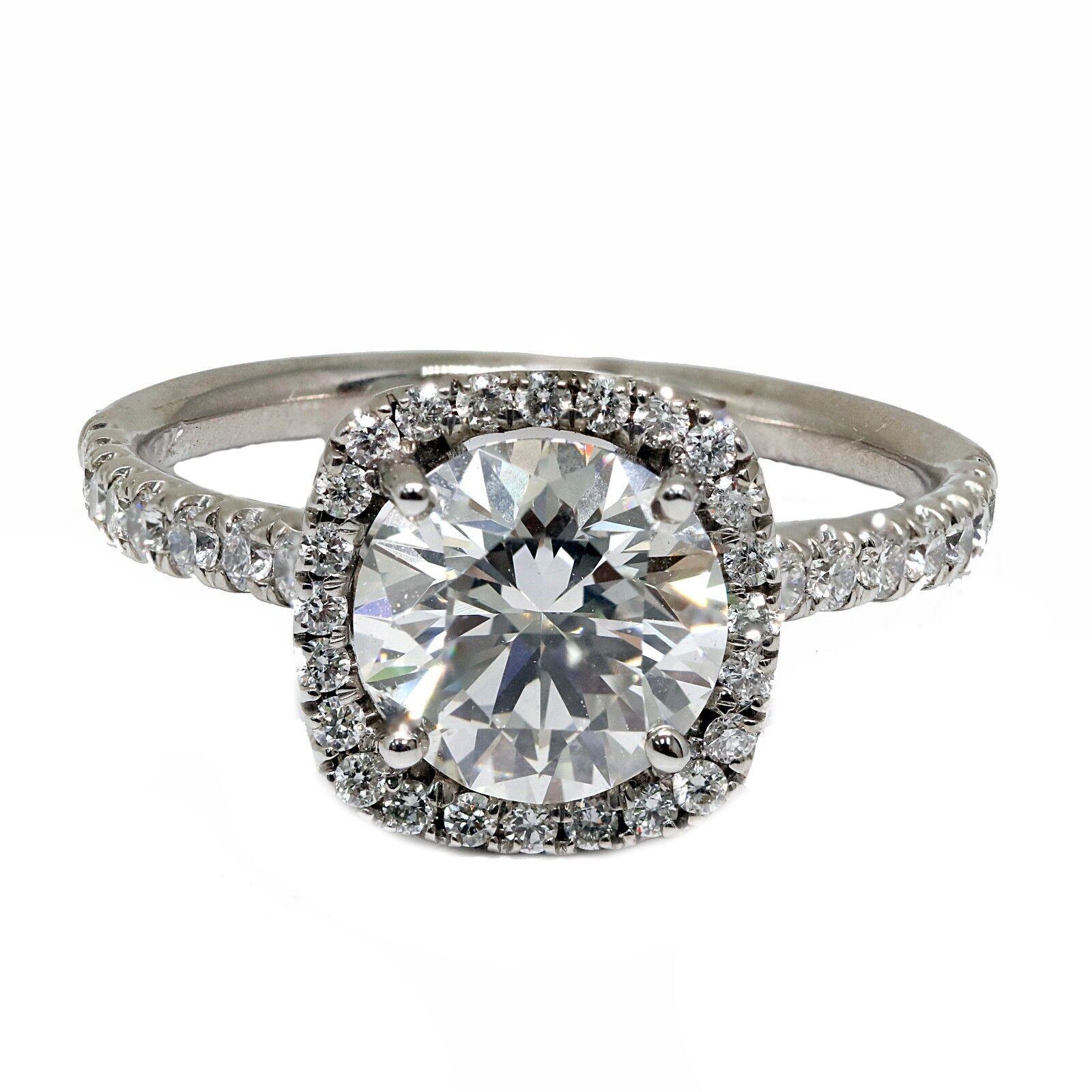 2.42 Carat  Round Diamond Halo Engagement Ring 14k White Gold