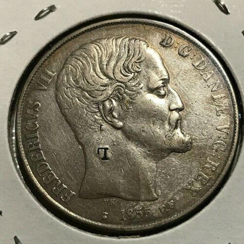 1855 DENMARK SILVER 2 RIGSDALER  RARE CROWN COIN HIGH GRADE