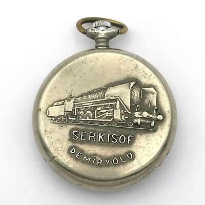 Molnja Serkisof Demiryolu Locomotive Vintage Pocket Watch USSR Rare Collectible