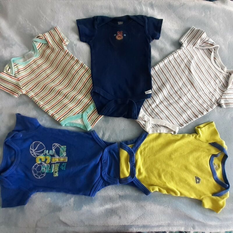 5 pc baby boy 3-6 months bodysuits blue, striped multicolor, green