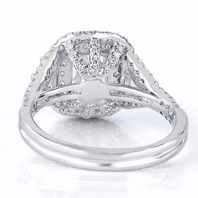 GIA Certified 2.17Ct VVS1 Cushion Cut Trapezoid Side Diamond Engagement Ring 18k 2