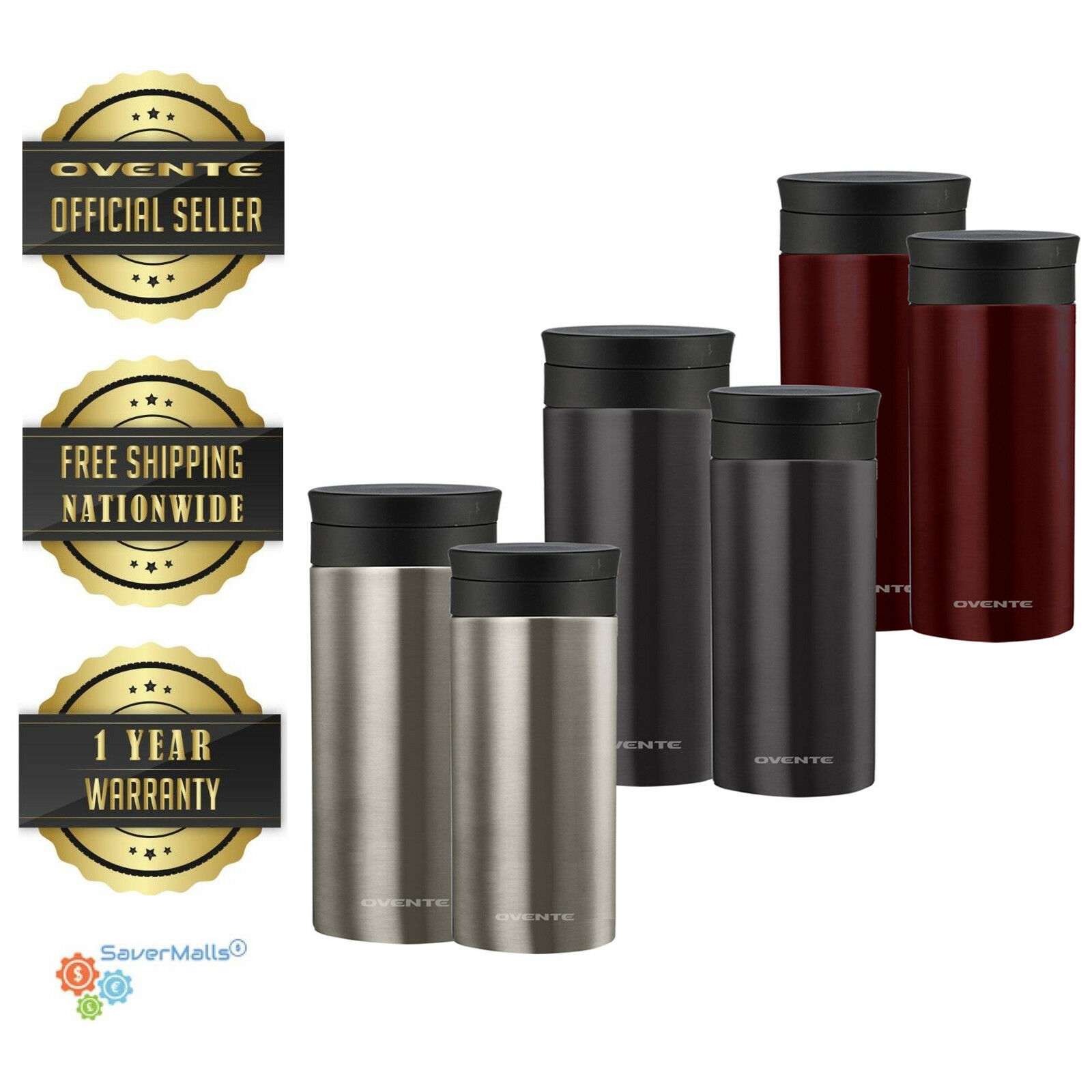 Ovente Vacuum Insulated Travel Mug 12 & 16 Ounce Stainless S