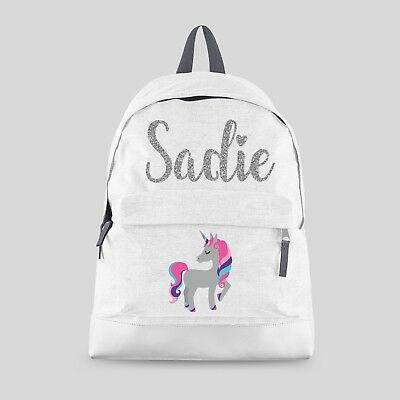 Personalised Kids Backpack - Any Name Unicorn Girls Back To School Bag #BPC9