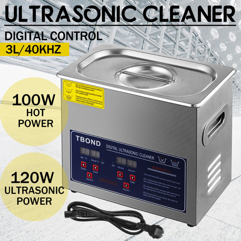 3L Liter Stainless Steel Industry Heated Ultrasonic Cleaner Heater w/Timer