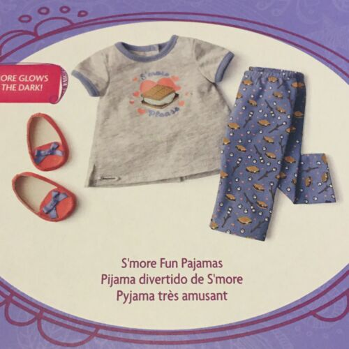 New American Girl Doll S more Fun Pajamas PJs Outfit Set Slippers Pants Shirt - $30.95