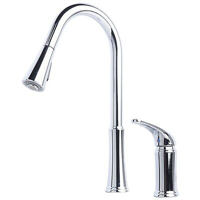 Contemporary Pull-Down Spray Kitchen Sink Faucet Chrome Finish
