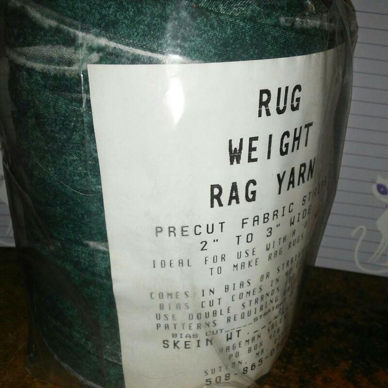 """Rag Yarn Precut Fabric Strips Rug Weight 2-3"""" Straight Cut Dark Green Pattern"""