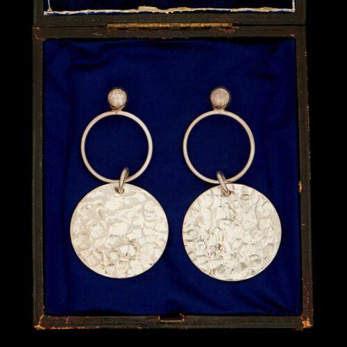 Vintage Designer 925 Sterling Silver Hand-Hammered HUGE Dangle Earrings 19.7g