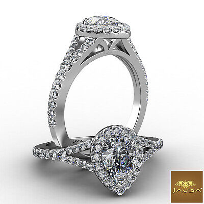 Halo Split Shank U Pave Set Women's Pear Diamond Engagement Ring GIA F VS1 1 Ct