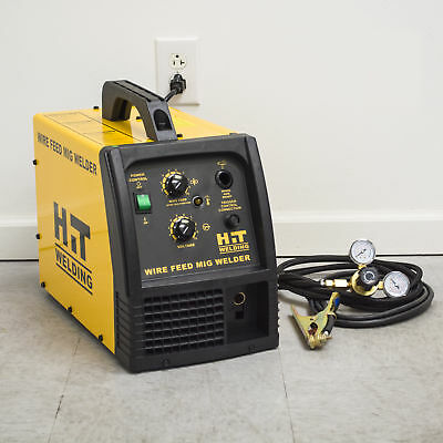 Hit 140 Amp Mig 120v Welder Includes Gas Hose Regulator 10 Ft. Tweco Type M...