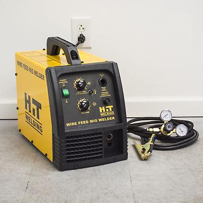 HIT 140 Amp MIG 120V Welder Includes Gas Hose, Regulator, 10 ft. TWECO Type M...