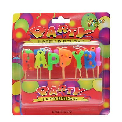 Happy Birthday Letter Candles Multi Colour Boys Girls Birthday Cake Decoration
