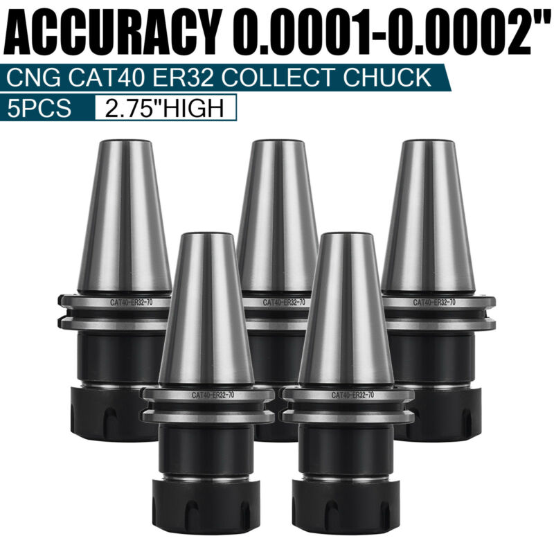 5 PCS COLLET CHUCK CAT40 ER32 END MILL HOLDERS HOLDER SET HARDENED GROUND TOOL