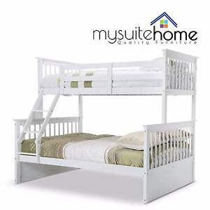 Emma White Kid Single on Double Solid Timber Bunk Bed Frame Melbourne CBD Melbourne City Preview