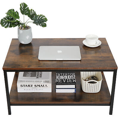 """Rustic Wood Coffee Table Rectangular Coffee Table with Storage Shelf Durable 31"""""""