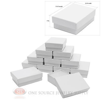 12 White Gloss Cotton Filled Gift Boxes 3 14 X 2 14 Charm Pendant Jewelry