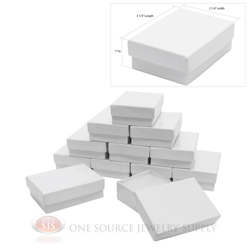 """12 White Gloss Cotton Filled Gift Boxes 3 1/4"""" X 2 1/4"""" Charm Pendant Jewelry"""