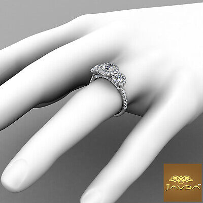 Halo 3 Stone Micro Pave Round Diamond  Engagement Ring GIA D VS2 Clarity 1.50Ct 3
