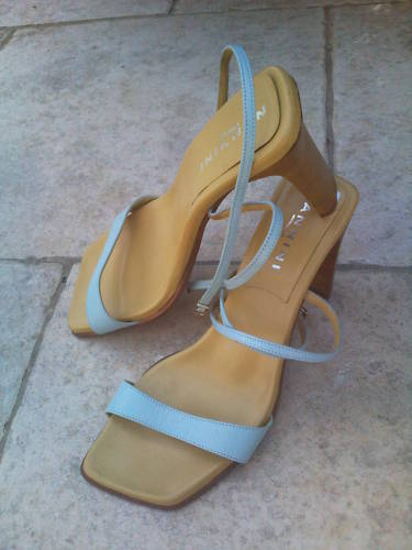 La Sandal Shoe Italian Nannini T38 all Leather Heel 3 7/8in Made in Italy