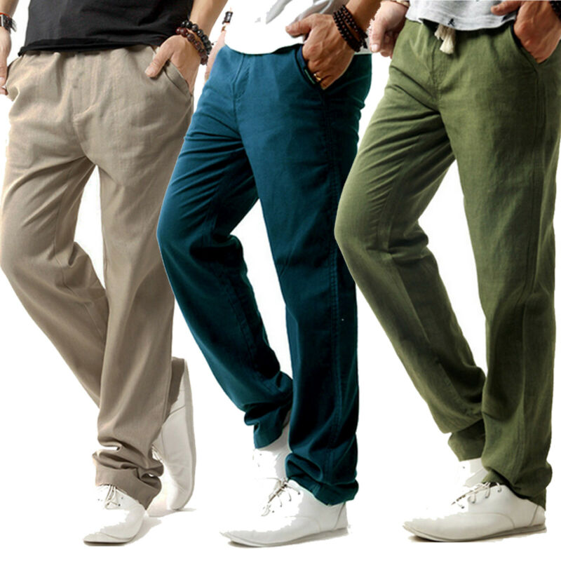 Herren Hosen Leinenhose Sommerhose Stoffhose Gerades Bein Freizeithose Yogahose