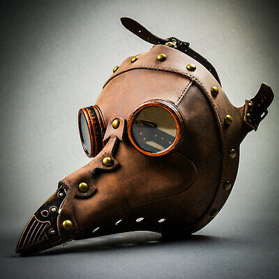 NEW Leather Steampunk Plague Doctor Mask Long Nose Mask Halloween Party Costume