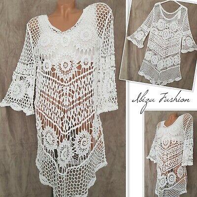 Gr.38-40-42 Ibiza Häkel Strand Kleid Kate (Weiß) Tunika Shirt Überwurf Top