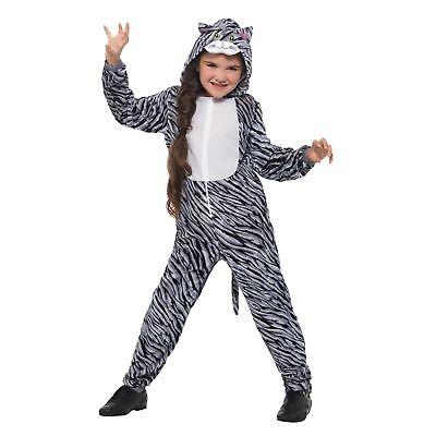 Tabby Cat Grey Cute Jumpsuit Childs Kids Girls Fancy Dress - Tabby Cat Costume