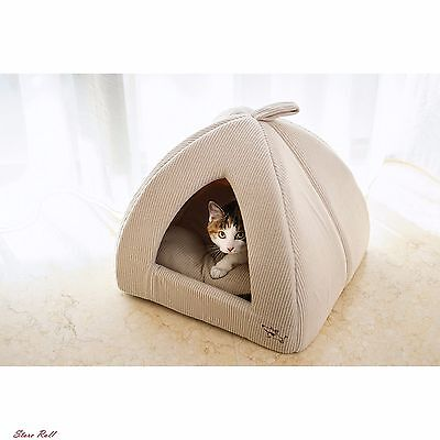 Pyramid Cat Bed Best Comfy Couch Pet Cave Dog Tent Corduroy Beige Washable NEW
