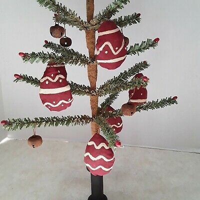 primitive Valentine faux german feather tree with pips  and heart ornaments