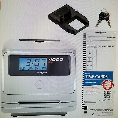 Pyramid Time Systems Model 4000 Auto Totaling Time Clock 50 Employees New