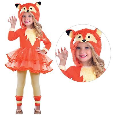 Kids Girls Plush Hooded Fox Tutu Wild Animal Fancy Dress Book Week Costume