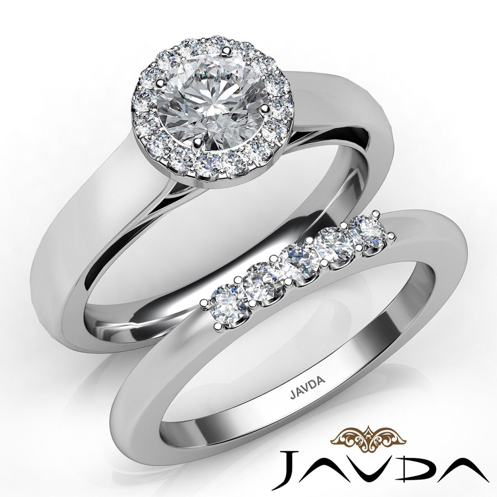 1.1ctw U Prong Halo Bridal Round Diamond Engagement Ring GIA F-VS1 White Gold