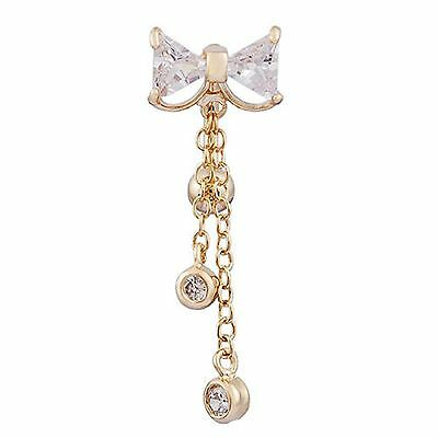 Gold Plated Clear CZ Gem Bow Chain Dangle Belly Navel Ring Body Jewelry