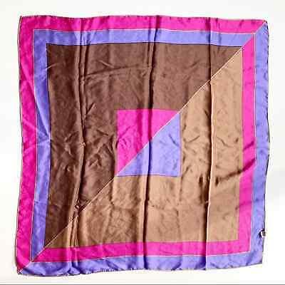 Vintage Scarf Styles -1920s to 1960s Vintage Scarf Vera Neumann 100% Silk Purple Pink Rolled Hem Square 28