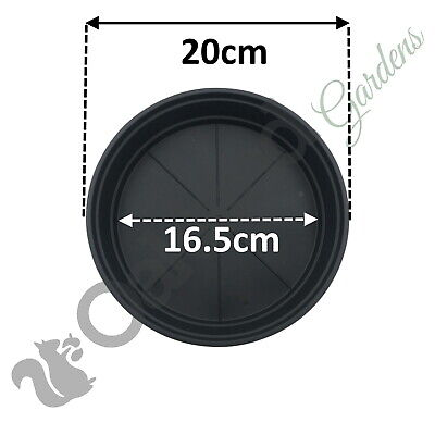 10 X 20cm Black High Saucer Deep 4 Litre Plant Pot Drip Watering Tray Trough for sale  Shipping to Ireland