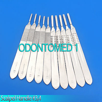 Scalpel Handle 3 - 4 Surgical Instruments Stainless Steel Set Of 10 Pcs