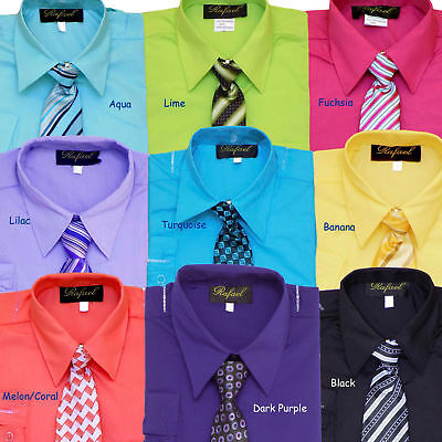 BOYS RECITAL, PARTY, GRADUATION, LONG SLEEVE DRESS SHIRT WITH TIE, SZ: 2T - 20 - Party Dress Boys