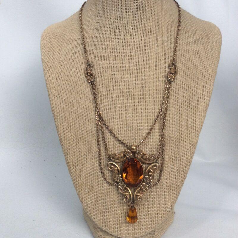 Vtg Antique Victorian Edwardian Gold Filled Amber Glass Lavalier Necklace