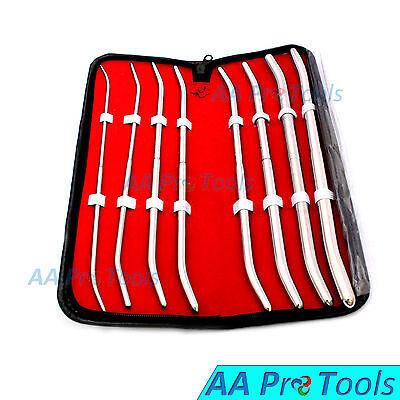 Aa Pro Pratt Urethral Sound Curved 8 Pcs Kit Uterine Dilator 13fr To 43 Curved