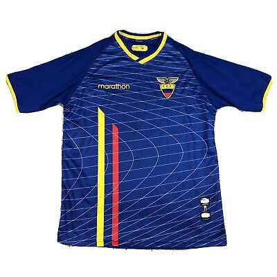 Official 2003-2005 Marathon ECUADOR National Men's Soccer Away Blue Jersey XL image