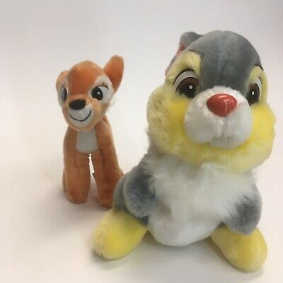 Vintage The Walt Disney Co Bambi & Thumper Bunny Soft Plush Stuffed Animal Lot