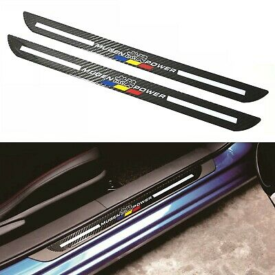 2Pcs Mugen Carbon Fiber Car Door Welcome Plate Sill Scuff Cover Decal Sticker