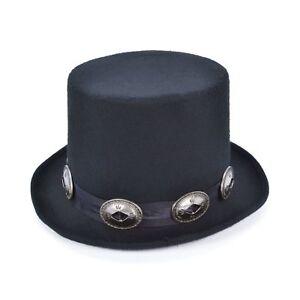 80S SLASH ROCKER STEAMPUNK VICTORIAN BUCKLES TOP HAT mens fancy dress accessory