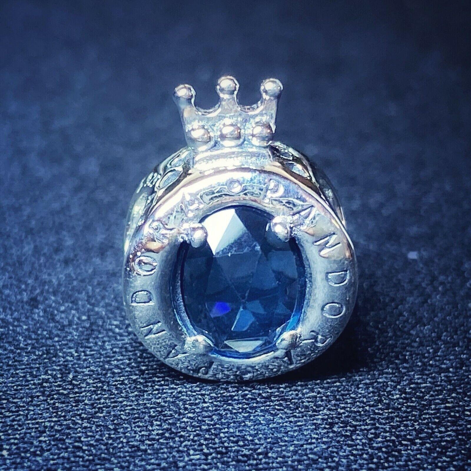 Authentic Pandora S925 Blue Sparkling Crown O Charm 798266NMB - $13.88
